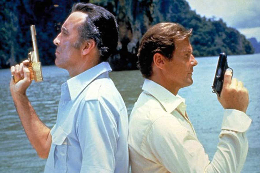 the man with the golden gun - christopher lee and roger moore