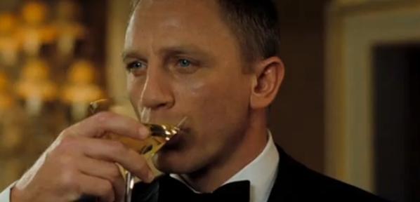 Daniel Craig sipping a martini in Casino Royale